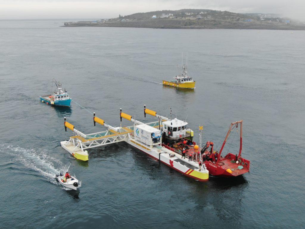 Les 4 générateurs montés sur la plateforme Sustainable Marine Energy PLAT-1